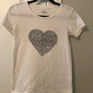 J Crew White tee with Word Heart